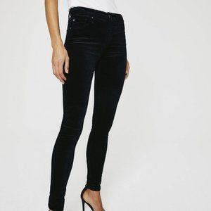 AG Adriano Goldschmied Super Black Velvet Velour 9Farrah High Rise Skinny Jeans